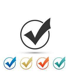 check mark in round icon check list button sign vector image