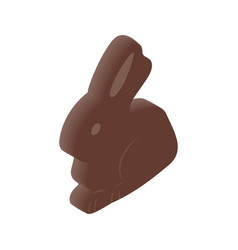 Chocolate easter bunny isometric 3d icon vector image