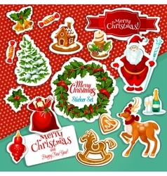 Christmas holiday sticker set for festive design vector image