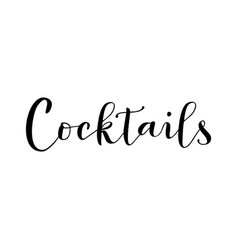 Cocktails in black isolated on white background vector