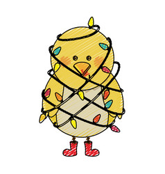 Color crayon stripe cartoon of chicken with boots vector