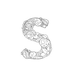 coloring book ornamental alphabet letter s font vector image