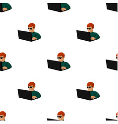 computer hacker icon in cartoon style isolated on vector image