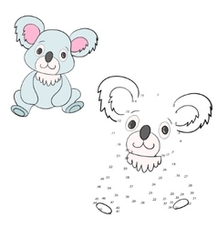 Connect dots game koala vector