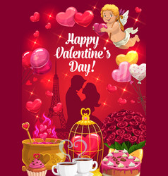 Couple with hearts and cupid valentines day vector
