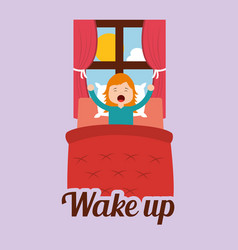 Cute girl wakes up in the morning vector