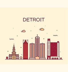 detroit city skyline michigan usa line city vector image