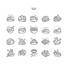 dishes well-crafted pixel perfect thin line vector image