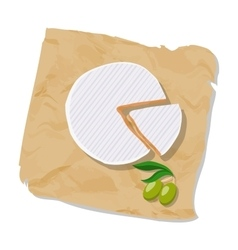Disk and piece of Camembert on the paper Isolated vector