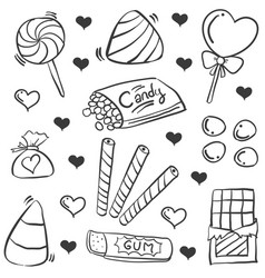 Doodle of candy various collection vector
