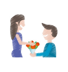drawing man gifting flowers woman vector image