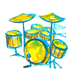 drums watercolor vector image