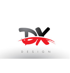 Dx d x brush logo letters with red and black vector