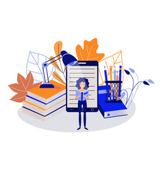 education concept with young female student vector image