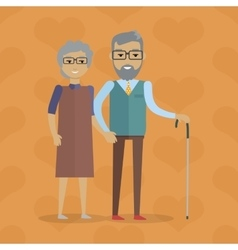Elderly Couple in Flat Design vector image