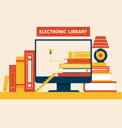 electronic library abstract path to knowledge vector image