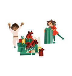 Flat girl and boy with big present box vector