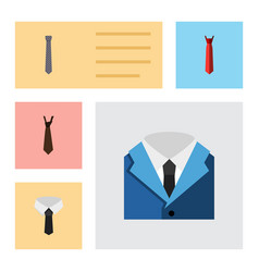 flat icon necktie set of tie collar style and vector image