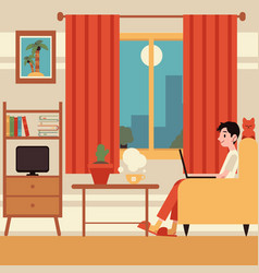 Freelance man work from home in armchair vector