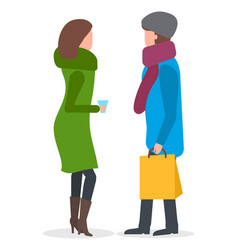 friends talking outdoors neighbours in winter vector image