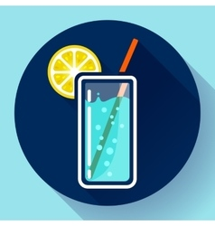 glass of water with lemon icon flat 20 designe vector image