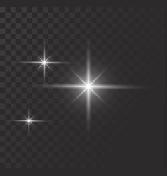 Glowing lights effect flare explosian and stars vector