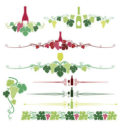 grapes and wine ornaments set vector image