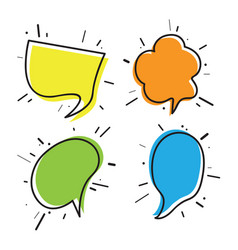 hand drawn thought and speech bubbles01 vector image