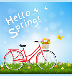 hello spring postcard with butterfly vector image