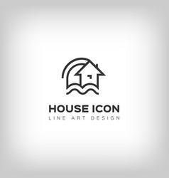 House logo home icon thin line art design vector