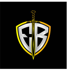 Initials e b is a shield decorated vector