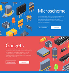 isometric microchips and electronic parts vector image