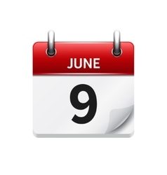 June 9 flat daily calendar icon Date and vector