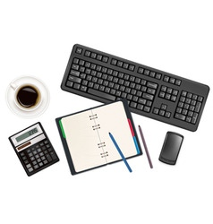 Keyboard with notepad vector