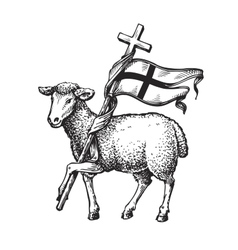 Lamb with Cross Religion symbol Sketch vector