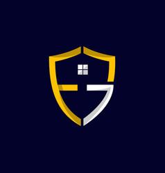 letter fg shield residential business logo design vector image