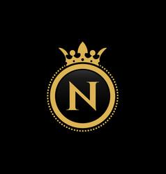 letter n royal crown luxury logo design vector image