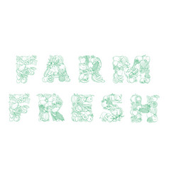 lettering farm fresh pattern logo groceries vector image