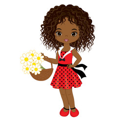 little african american girl with flowers vector image