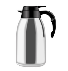 Metallic coffee thermos in side view vector