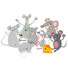 Mice animal characters cartoon vector