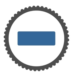 Minus flat cobalt and gray colors round stamp icon vector