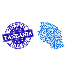 Mosaic map of tanzania with water drops and grunge vector