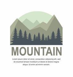 mountain and pine tree logo design vector image