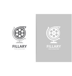 movie and globe logo combination cinema vector image