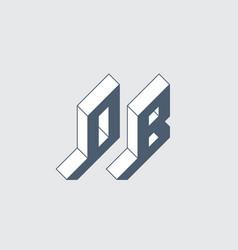 Ob - 2-letter code isometric 3d font for design 0 vector