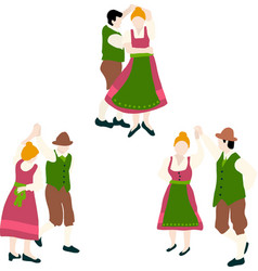 oktoberfest bavarian dancing couple vector image