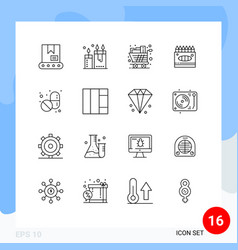 Pack 16 creative outlines medical arts cart vector