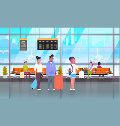 Passangers in airport with baggage at waiting hall vector