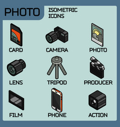 photo color outline isometric icons vector image